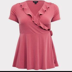 Torrid pink ruffle blouse